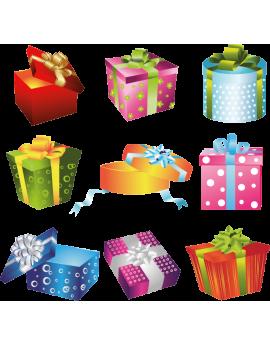 Kit 9 Stickers cadeaux noël