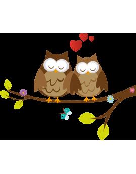 Sticker hibou couple d'amoureux