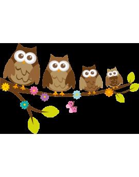 Sticker branche famille hibou