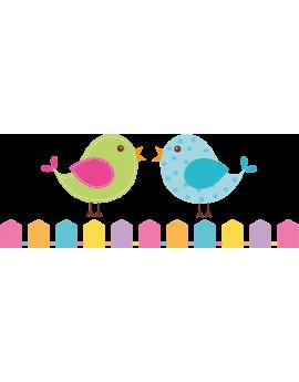 Sticker couple d'oiseaux