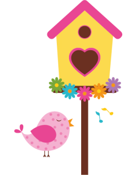 Sticker oiseau chanteur maisonnette