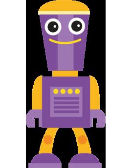 Sticker robot orange et violet