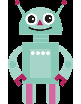 Sticker robot bleu et rose