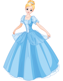 Sticker princesse robe bleu