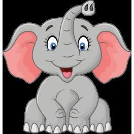 Sticker l phant rigolo et joyeux color stickers - Dessin elephant rigolo ...