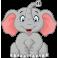 Sticker éléphant rigolo et joyeux