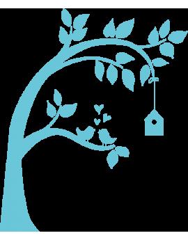 Sticker arbre couple d'oiseaux sur une branche