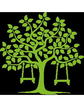 Sticker arbre feuilles à balançoires