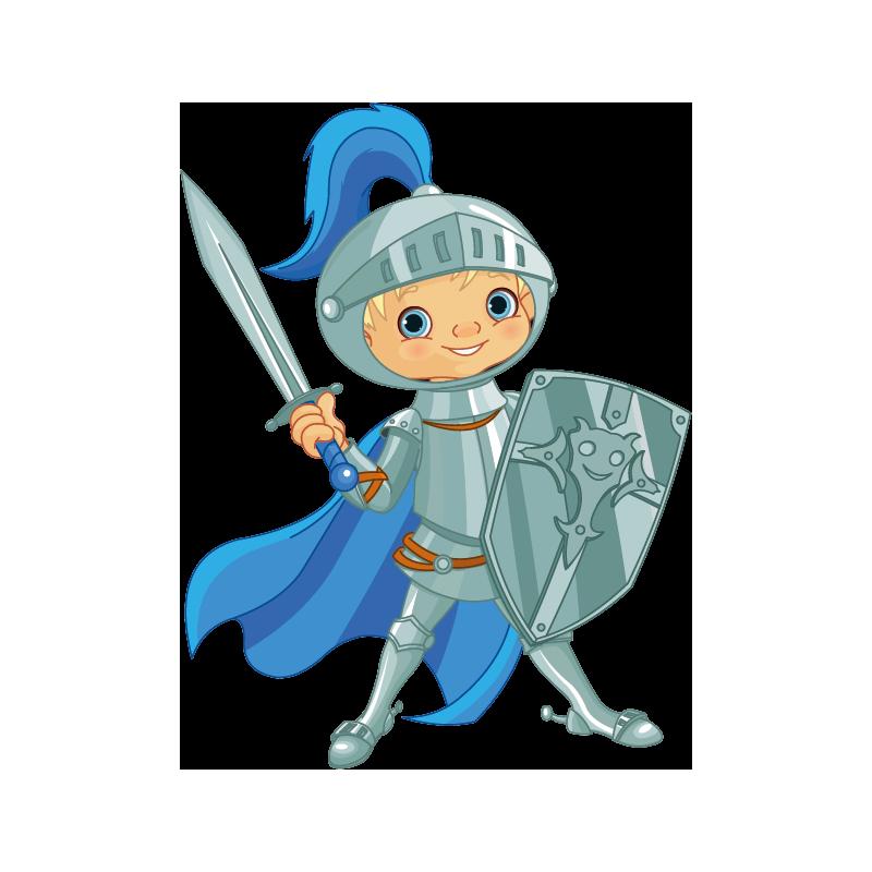 Sticker enfant chevalier bleu color stickers - Porte cle photo plastique transparent ...