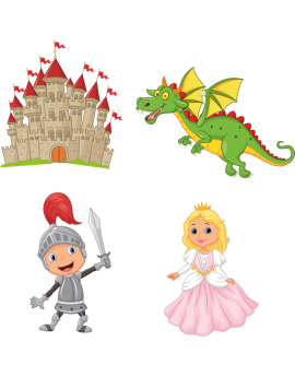 Kit 4 Stickers chevalier château princesse