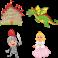 Kit 4 Stickers chevalier château princesse