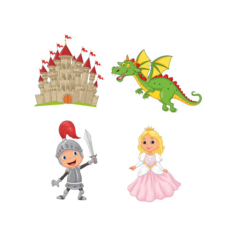 Kit 4 stickers chevalier ch teau princesse color stickers for Image chateau princesse