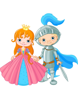 Sticker couple chevalier et princesse