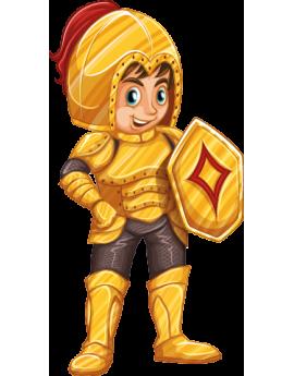 Sticker enfant chevalier or