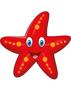 Sticker océan étoile de mer rouge