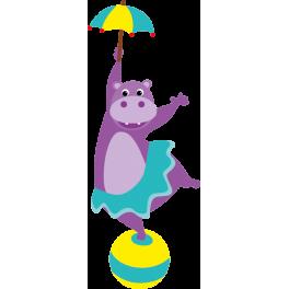 Sticker cirque hippopotam parapluie ballon