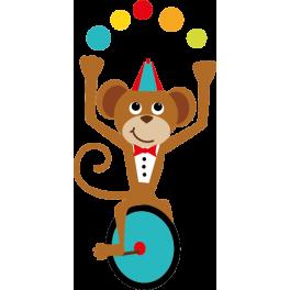 Sticker cirque singe qui gongle