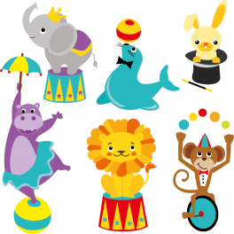 Kit 6 Stickers cirque animaux zoo