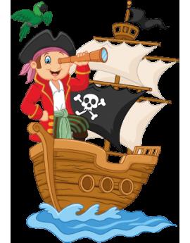 Sticker bâteau pirate et perroquet
