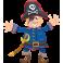 Sticker pirate bleu chapeau tête de mort