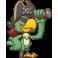 Sticker perroquet vert pirate longue vue