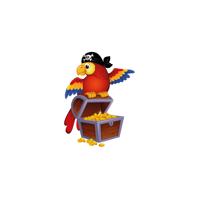 sticker perroquet rouge pirate trsor