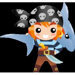 Sticker garçon pirate épée et requin