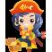 Sticker fille pirate épée et trésor