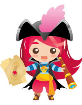 Sticker fille pirate longue vue carte au trésor