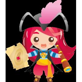Sticker fille pirate carte au trésor