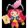 Sticker fille pirate longue vue carte au trésor