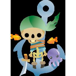 Sticker pirate ancre tête de mort pieuvre