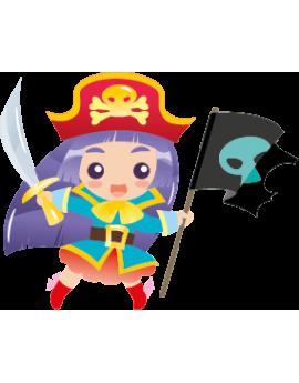 Sticker fille pirate épée et drapeau