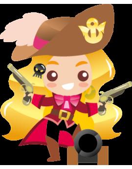 Sticker fille pirate pistolet et canon