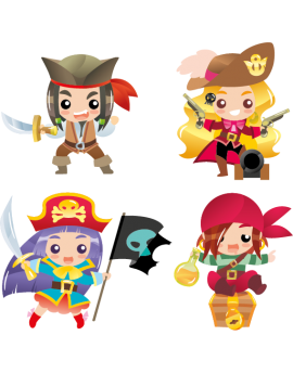 Kit 4 Stickers pirates garçons et filles