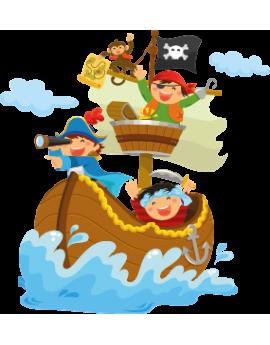 Sticker bâteau pirate et singe sur mer