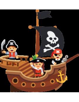Sticker bâteau pirate sur mer