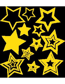 Kit 10 Stickers pop étoiles déco