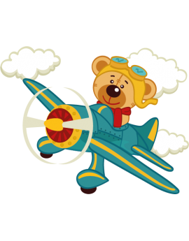 Sticker avion bleu ourson aviateur