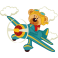 Sticker avion bleu ourson aviateur