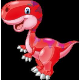 Sticker dinosaure rouge