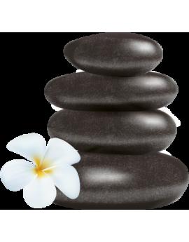 Sticker zen galets fleur d'orchidée blanche
