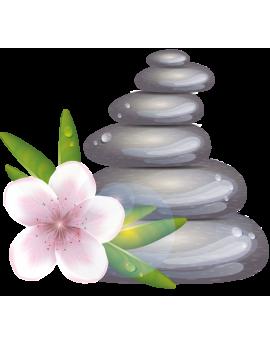 Sticker zen galets fleur d'orchidée rose