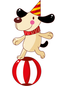 Sticker cirque chien clown sur ballon