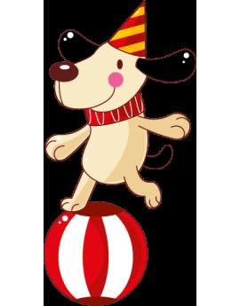Sticker cirque chien clown sur ballon
