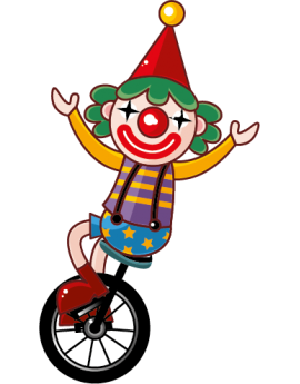 Sticker cirque clown sur monocycle