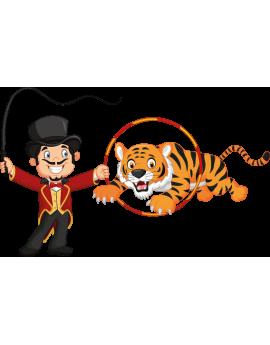 Sticker cirque dompteur de tigre