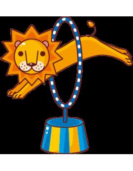 Sticker cirque lion cerceau