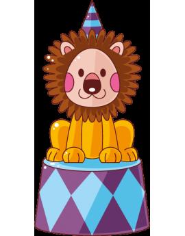 Sticker cirque lionceau avec chapeau