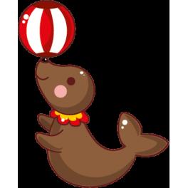 Sticker cirque otarie avec ballon